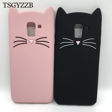 3D Cute Beard Cat Ears Cases For Samsung Galaxy J3 J5 J7 2016 2017 J4 J6 J8 2018 Case Silicone Soft TPU Glitter Kitty Back Cover