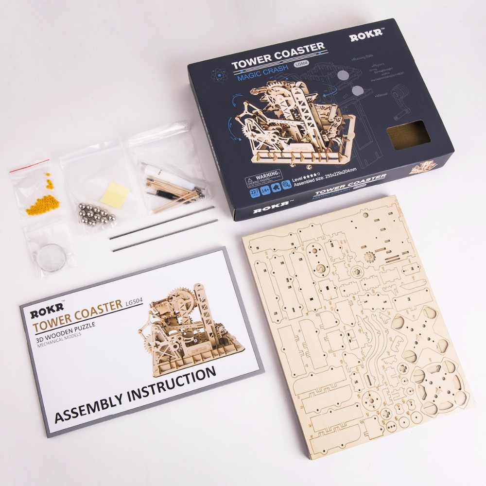 Robud 4 tipos diy 3d mármore run jogo de madeira engrenagem unidade modelo kits de construção brinquedo para crianças adulto LG501-LG504 para dropshipping