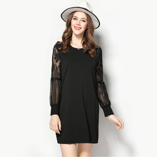 Vestidos 2017 Spring New Arrival Plus Size Dress High-quality Openwork Lace Sleeve Stitching Dresses for Women XL-5XL
