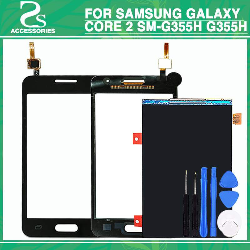 For Samsung Galaxy Core 2 SM-G355H G355H G355 Duos Touch Screen Digitizer Sensor Glass + LCD Display Panel with tools