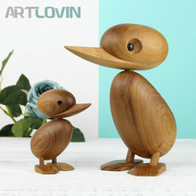Nordic Oak Wooden Duck Abstract Teak Wood One Couple Creative Dolls Lovely Nature Animal Ornaments Decoration Figurines