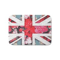 God Save The Queen   Elegant Girly Red Floral & Lace Union Jack Bath Mat Coral Fleece Rug Anti Slip Doormat Home Decor