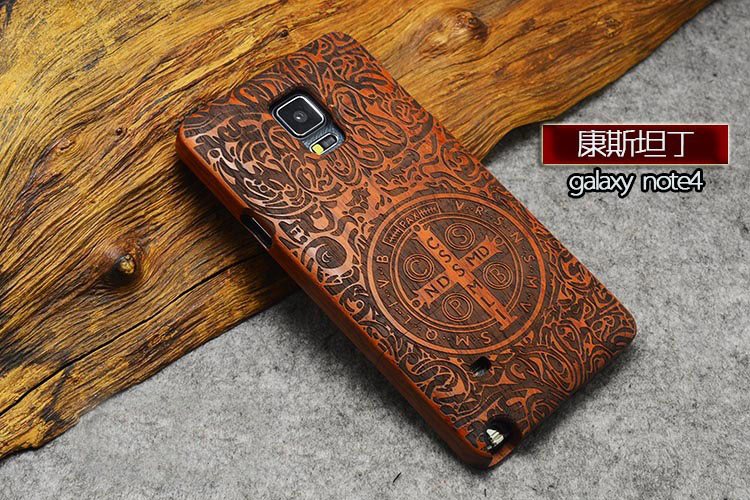 High Quality Wood Case For Galaxy Note4 Wooden New Cover Natural Real Bamboo Carving Wood Back Cover For Samsung galaxy Note 4