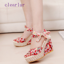 Best selling ladies sandals summer casual new fashion printing lace ribbon wedge with platform high heels