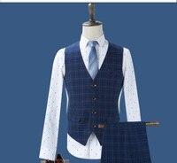 2017 new male youth business casual suit vest blue Plaid Dress Vest slim male jacket