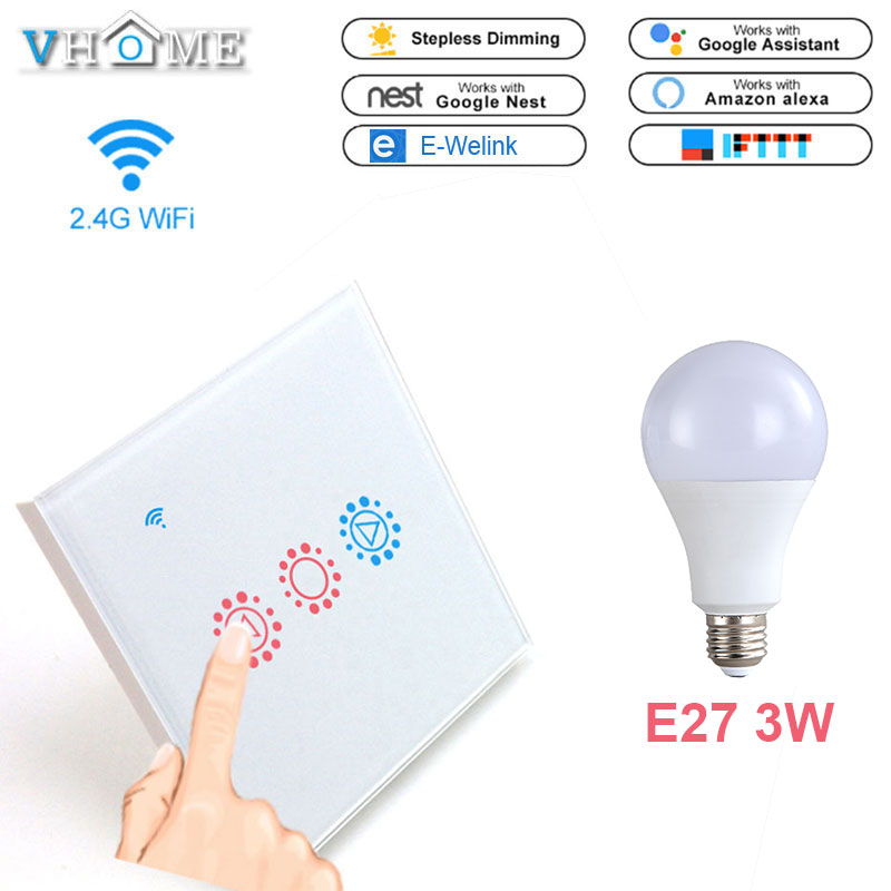 Vhome Touch Light Switch Eu Uk Wifi Dimmable Wall Led Dimmer