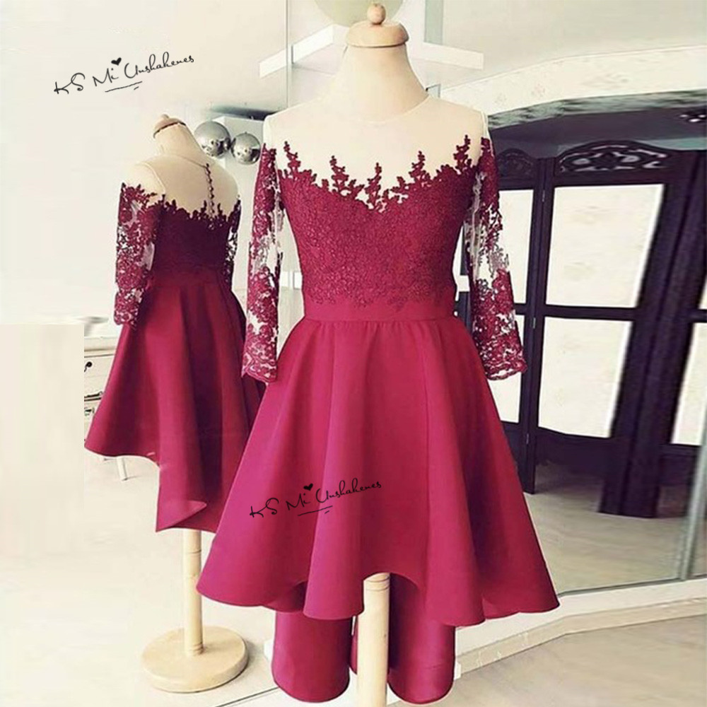 Robe De Cocktail Courte Burgundy Short Cocktail Dress 3/4 Sleeve Lace High Low Prom Party Dresses 2019 Homecoming Dress Chic