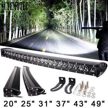 3D 120W 150W 180W 240W Super Slim Single Row Curved Led Light Bar Combo Beams For 4x4 Offroad SUV 4WD ATV Driving Work Lights