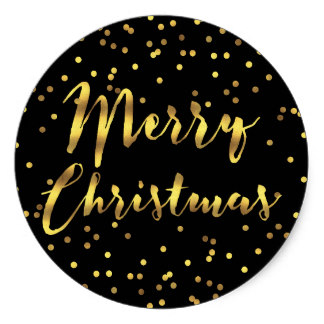 38cm Merry Christmas Gold Foil Confetti Black Classic Round Sticker In Stickers From Home Garden On Aliexpress
