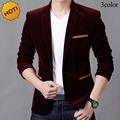Fashion 2017 Spring Autumn British men blazer designs masculino Patchwork pocket Stripe Single Breasted One button Suit homme