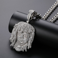 European and American rapper lil pump avatar pendant micro inlaid with zircon hiphop necklace