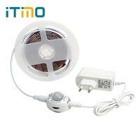 ITimo Motion Sensor Lit Bande Night Lights avec Arrêt Automatique Off Minuterie Flexible LED Bande lumière Armoire Cabinet Lampe 2 M 60 LEDs