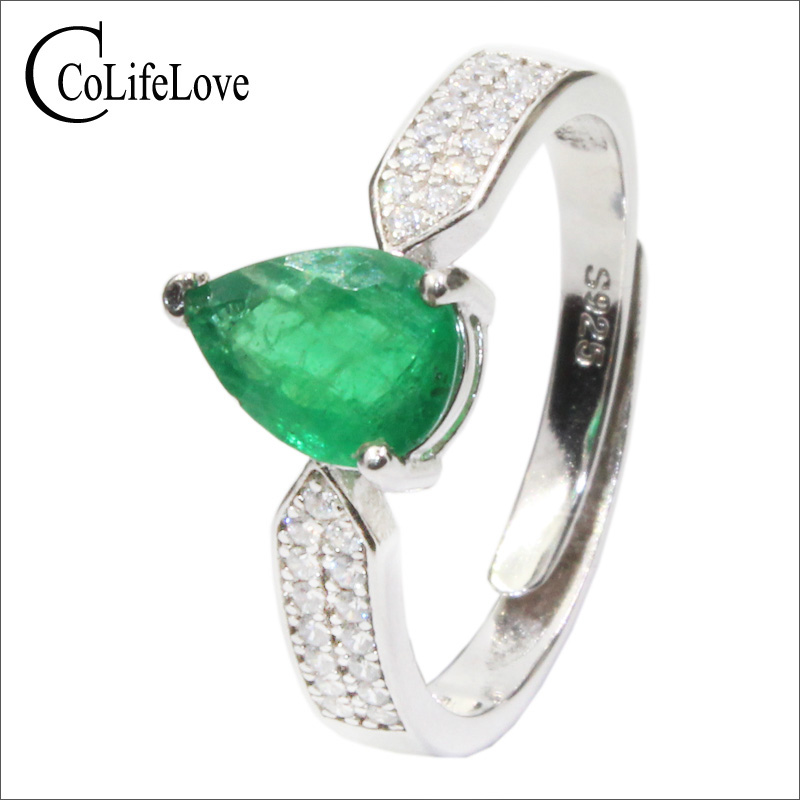 CoLife Jewelry Affordable Luxury Emerald Ring for Woman 6mm*8mm Pear Cut Natural Emerald Silver Ring 925 Silver Emerald JewelryCoLife Jewelry Affordable Luxury Emerald Ring for Woman 6mm*8mm Pear Cut Natural Emerald Silver Ring 925 Silver Emerald Jewelry