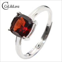 Simple design jewelry fasion garnet ring stamped 925 silver fine jewelry OEM silver jewelry for USA market gift for your lover