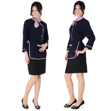 Adult work wear autumn and winter cake shop services waitress uniform set(China)