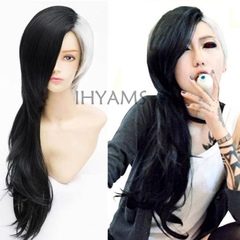 طوكيو الغول أوتا أنيمي أبيض وأسود تأثيري باروكة شعر مستعار + cap