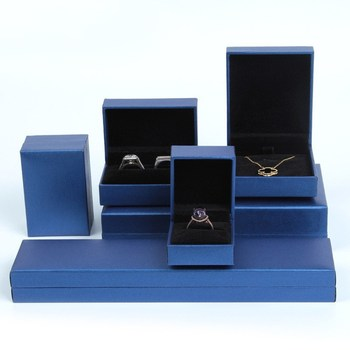 Logo customize blue jewelry gift box for necklaces for parties and anniversities image