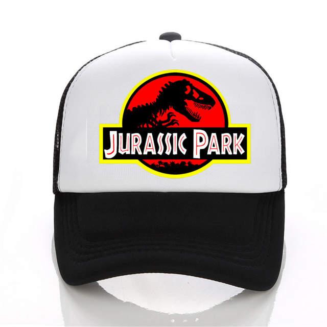 846a791af99 Jurassic Park Dinosaur Print Flat Bill Visor Trucker Caps Mesh Gorras Men  Summmer Fashion Adjustable Snapback