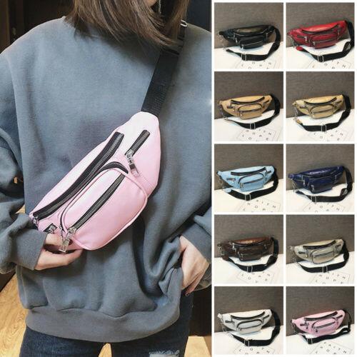 Women Waist Belt Bag Leather Fanny Fashion Solid Pack Shoulder Chest Bag Travel Phone Pouch