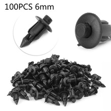 100x Car 6mm Hole Plastic Rivets Fastener Push Clip Black Auto Vehicle Door Trim Panel Retainer Fastener Clips For Suzuki GSXR