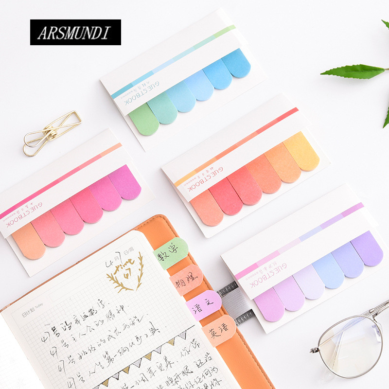 Cute Gradient N Times Memo Pad Paper Sticky Notes Post It Kawaii Stationery Papeleria School Supplies Material Escolar
