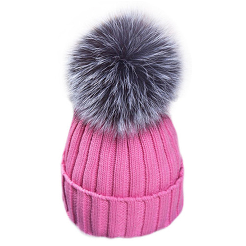 Real Raccoon Fur Pompom Hats For Women 2017 Warm Winter Caps Female Beanies Gorro 15cm Wool Knitted Pom Pom Hats Bonnet Femme pop winter raccoon fur hats real 15cm fur pompom beanies cap natural fur hat 1pc