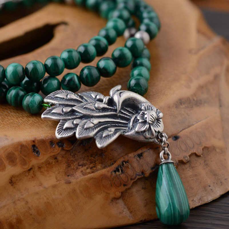 FNJ 925 Серебряное малахитовое Цепочки и ожерелья для изготовления ювелирных изделий Подвеска Павлин зеленый камень 100% оригинальный S925 стерлингового серебра Цепочки и ожерелья s
