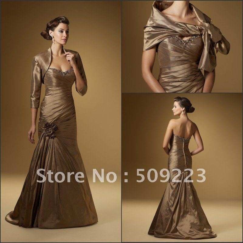 Exquisite Strapless Extensive Peating Gold Shiny Satin Floor Length
