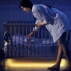Светодиодная лента для ночного освещения Smart Turn ON OFF fita de LED luz Водонепроницаемая SMD2835 бандо Светодиодная лампа для спальни pir датчик движения ...