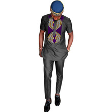 hot deal buy african dashiki clothes men tshirt+pant sets long sleeve tops and long trouser black cotton patchwork design african tshirt