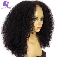 Luffy Non Remy Brazilian Kinky Curly Lace Front Human Hair Wigs Deep Parting 180 Density Natural
