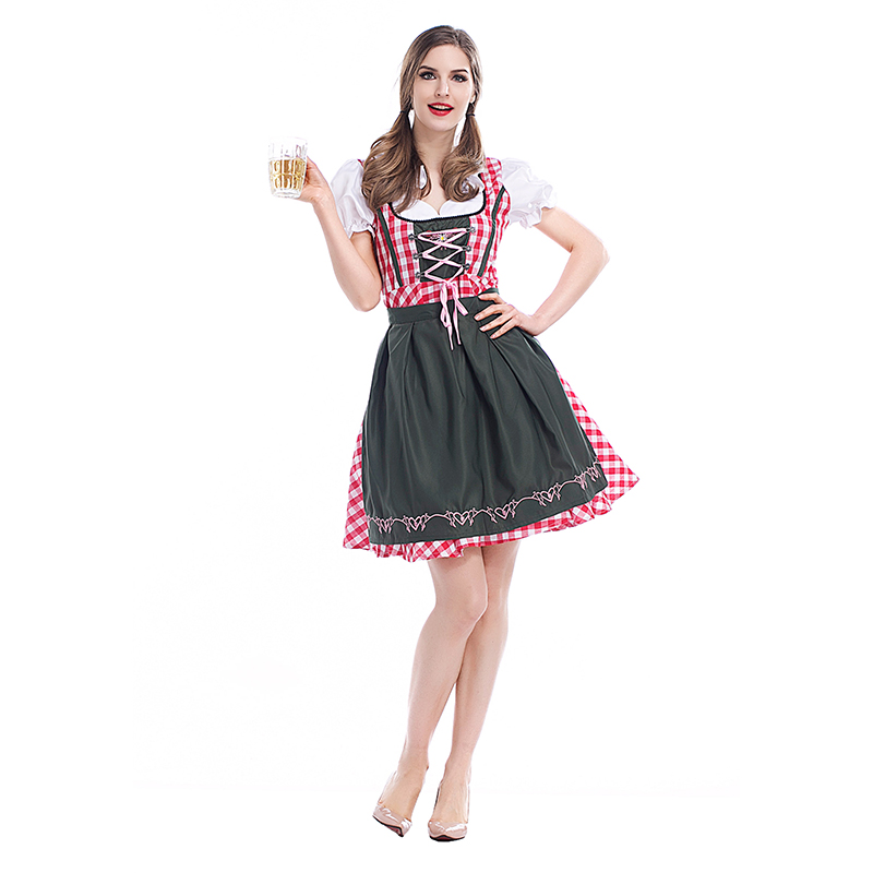 Costumes Adult Women Beer Festival Sexy Pink Dresses and Black Apron Suit National Costumes Oktoberfest Event Costumes