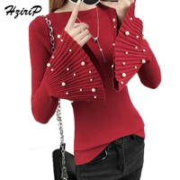 HziriP 2018 Hot Spring O Neck Knitted Pullover 6 Colors Flare Sleeve Women Soft Jumper Solid