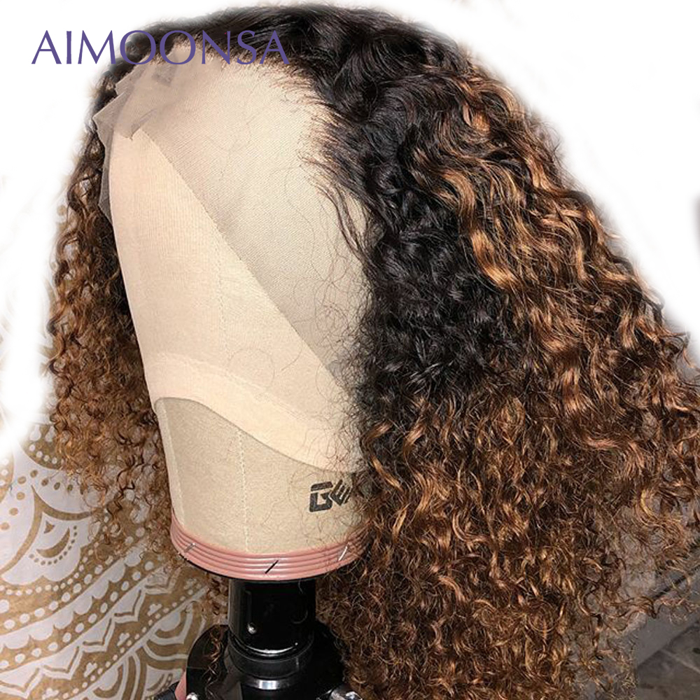 Honey Blond Ombre Wig Human Hair Human Color Lace Wigs Deep Curly Wig Bob Lace Front Wigs 13X6 Deep Part Remy Aimoonsa