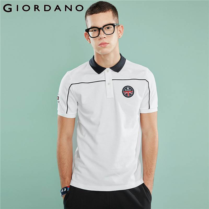 Giordano Men   Polo   Quality Pique Fabric Slim Cutting Embroidered Badge British Style Stretchy Men   Polo   Shirt Short Sleeve Camisa