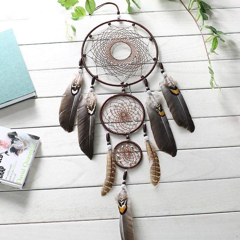 ElimElim Neue Nordic Feder Indoor Indian Dream Catcher Mit Geschenk Box Wohnkultur Ornamente Geschenk Dreamcatcher Tür Dekoration