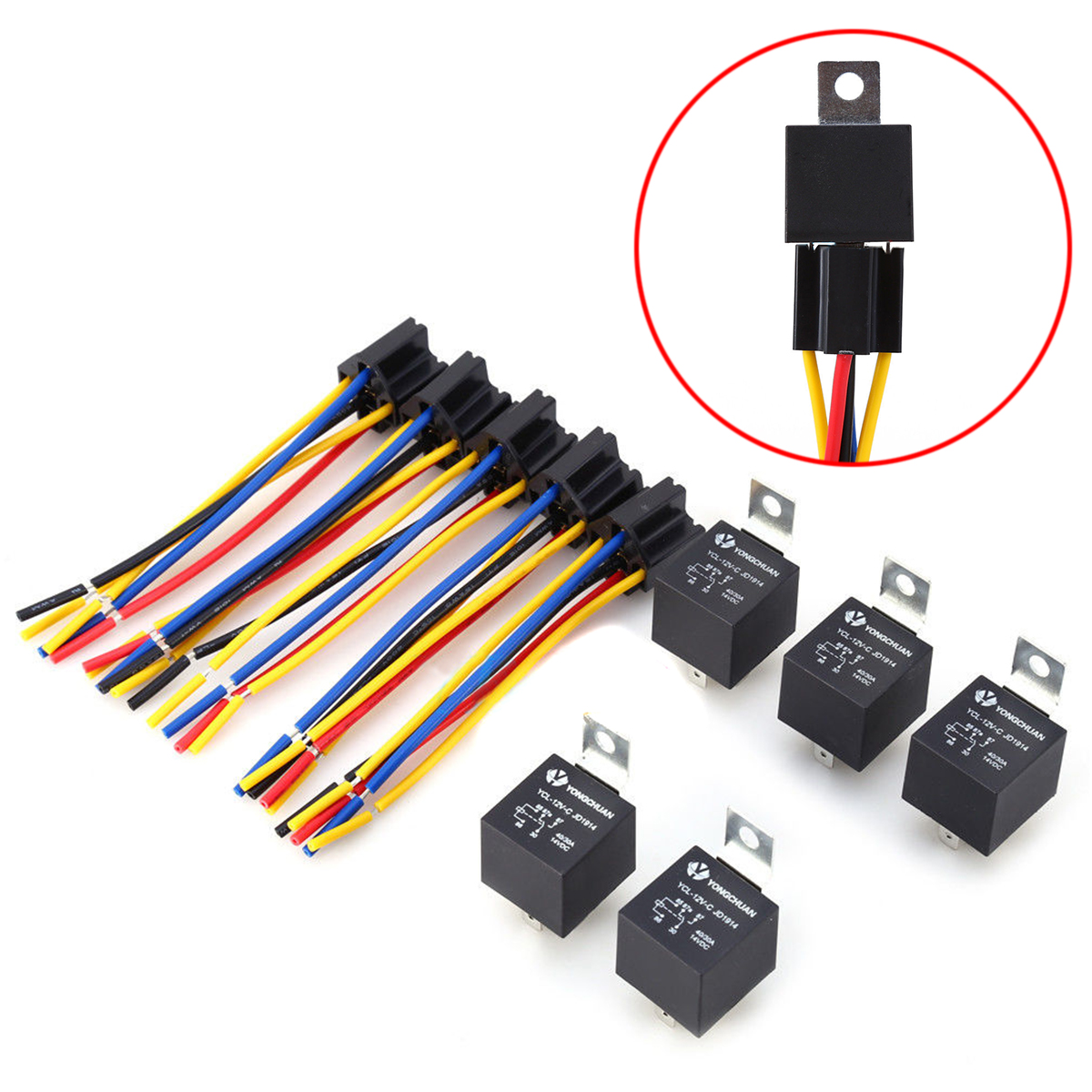 5 Set DC 12V 40A AMP Relay & Socket SPDT 5 Pin 5 Wire YCL-12V-C JD1914 For Auto Car Truck Accessories