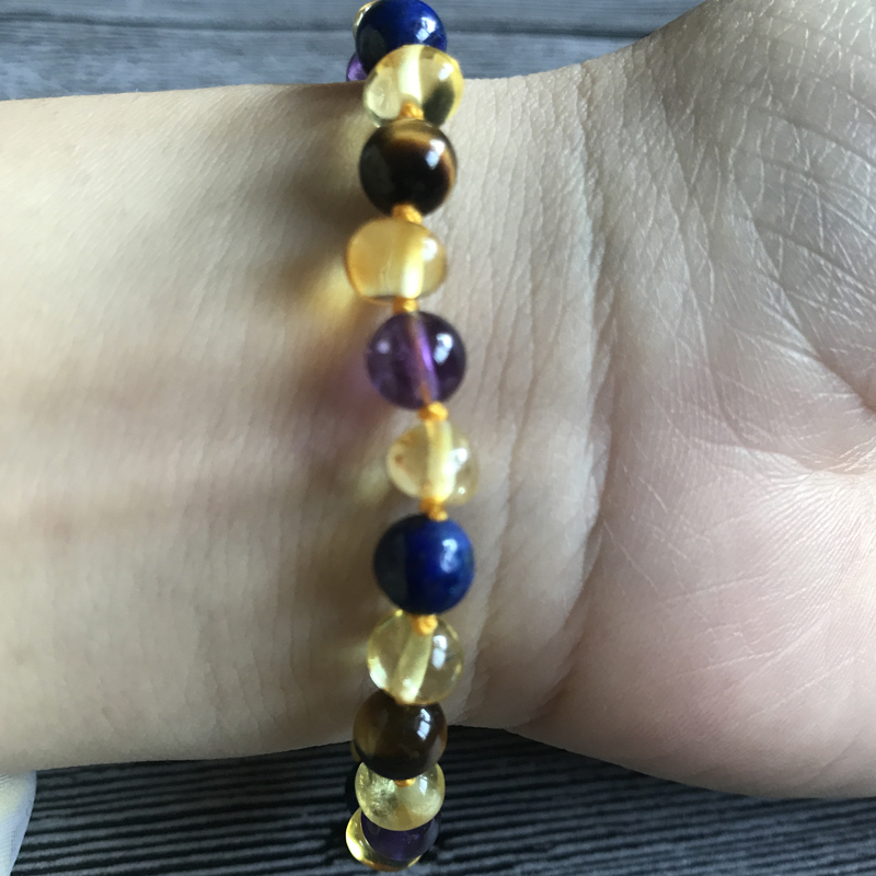 HTB1 mH5nnnI8KJjy0Ffq6AdoVXaD Yoowei 9 Color Baby Amber Bracelet/Necklace Natural Amethyst Gems Adult Baby Teething Necklace Baltic Amber Jewelry Wholesale