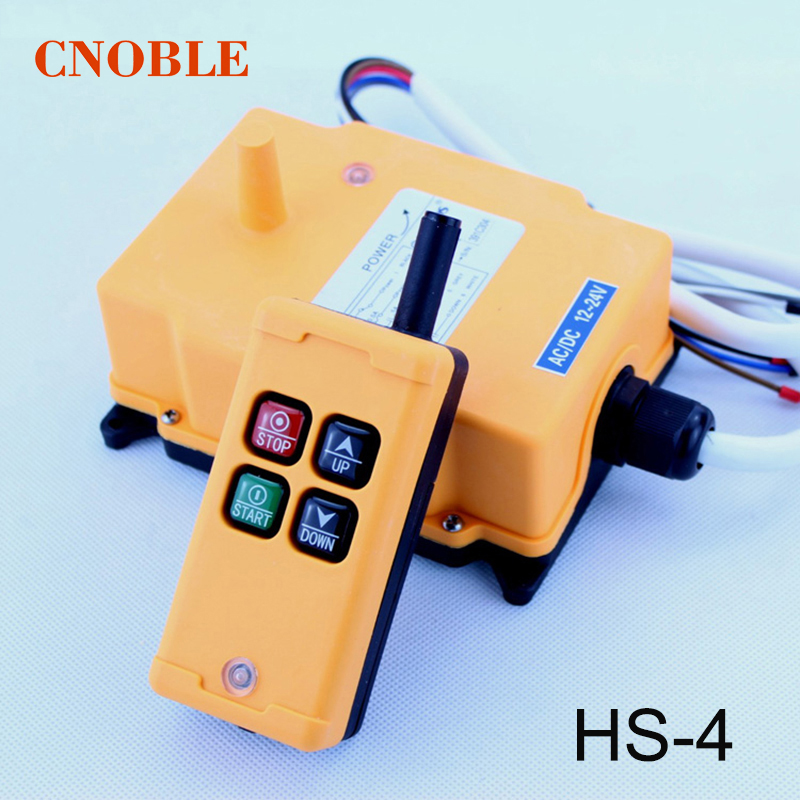 HS-4 DC12V Single Speed 1 Transmitter+1 Receiver wireless Hoist Crane Industrial Wireless Remote Control Push button Switch 12v 24v hs 10 industrial remote control crane transmitter 1pcs transmitter and 1pcs receiver
