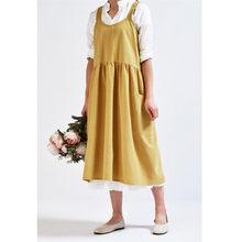 Signore Delle donne Del Cotone del Vestito di Lino Pianura Vestito Estivo 2019 Casual Grembiule Giardino Lavoro Grembiule Vestito Allentato Tasche Mid-Calf Dress
