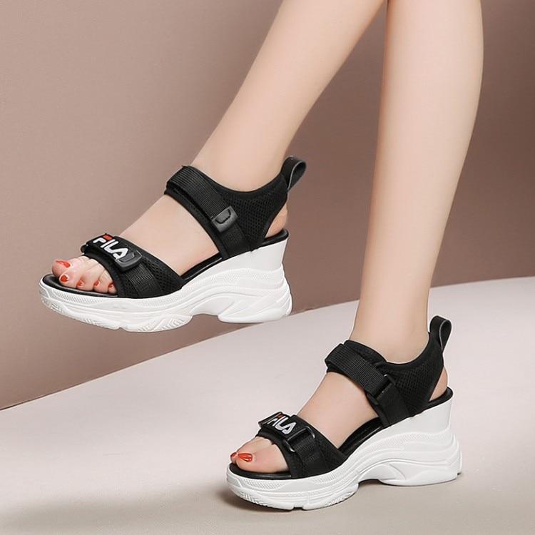 MLJUESE 2019 women sandals Cow leather Hook Loop Rome style black color wedges heel high heels