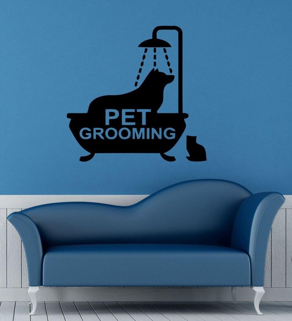 Pet Grooming Vinyl Wall Decal Animal Dog In Bath Pet Groomin Sign Mural Art Wall Sticker Pet Salon Pet Shop Room Decoration