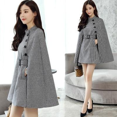 Fashion Plaid coat female Jacket  Autumn Women's New British style  Cloak Woolen Jacket Fashion Cape Coat Female Casual Blazers