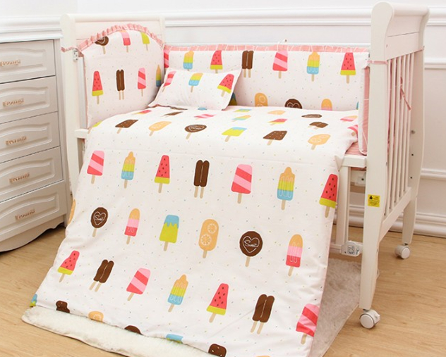 Promotion! 9pcs whole set baby cot bedding set baby boy crib bedding set cartoon baby crib set,4bumper/sheet/pillow/duvet set