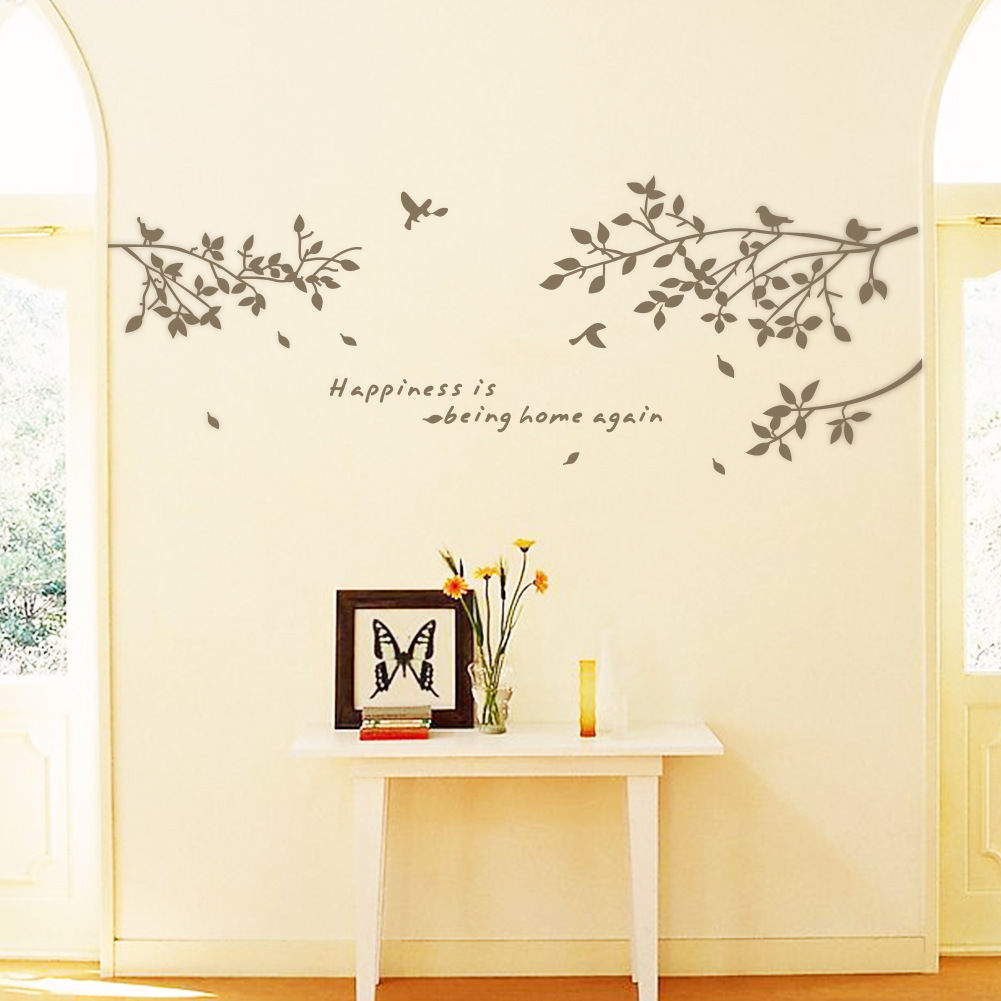 Black tree branches birds leaves fashion vinyl minimalism for Black tree wall mural