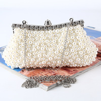 Luxury Beaded Fashion Designers Beaded Evening Bag Satin Elegant Pearl Clutches Bags Shoulder Party Bags Beige
