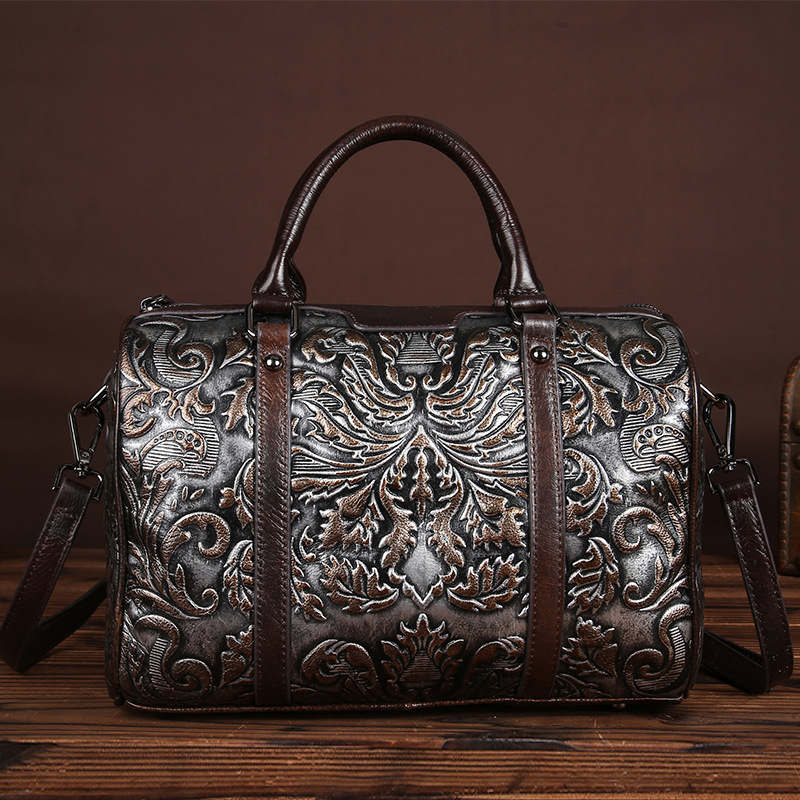 YISHEN Genuine Cow Leather Vintage Women Handbags Embossing Fashion Women Shoulder Bags Casual Large Capacity Female Bags LS8869