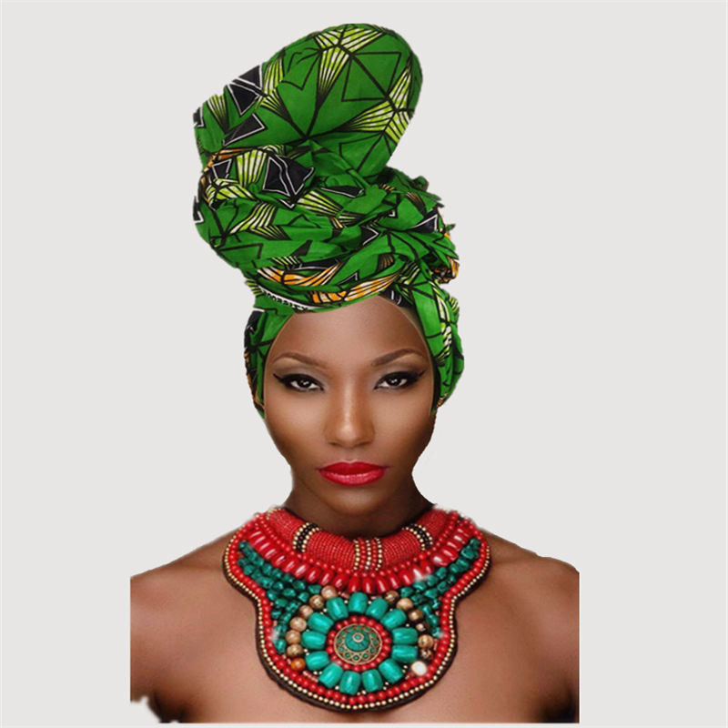 New design hot selling green African Ankara Head Wraps turban wax print headwrap Head covering for ladies party wedding