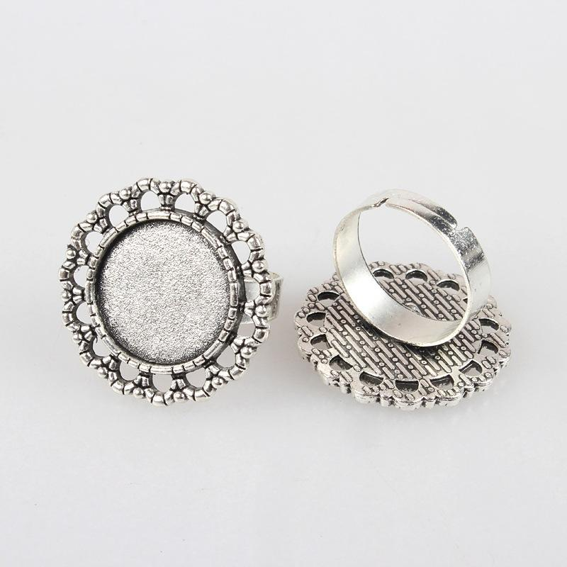 Vintage Adjustable Iron Flower Finger Ring Components Alloy Cabochon Bezel Settings, Antique Silver, Flat Round Tray: 16mm; 17mm