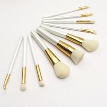Shell PU Kulit 10 pcs Makeup Brushes Set Bedak Wajah Eyeshadow Kecantikan Make Up Tool Kit Kosmetik Portabel Brushes